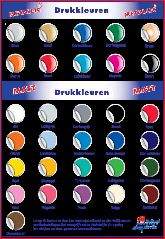 Drukkleuren voor op de keuringssticker