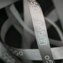 Bedrukt lint: 10 mm  Lint: Zilvergrijs (80)  Druk: Wit