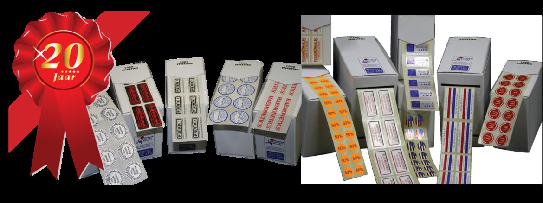 Al 25 jaar uw vertrouwde leverancier voor diverse soorten etiketten op rol, stickers en bedrukt satijnlint.